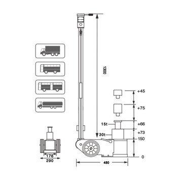 Dvoupístový pneumaticko - hydraulický zvedák S30-2EL  - 2