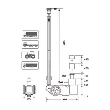 Dvoupístový pneumaticko - hydraulický zvedák S40-2EL  - 2