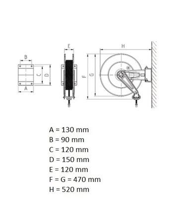 Otevřený samonavíjecí buben s hadicí 15m pro vzduch a vodu  - 7