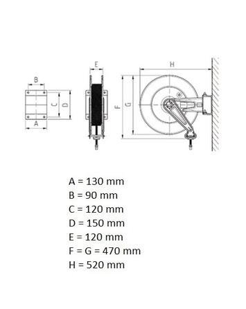 Otevřený samonavíjecí buben s hadicí 20m pro vzduch a vodu  - 7